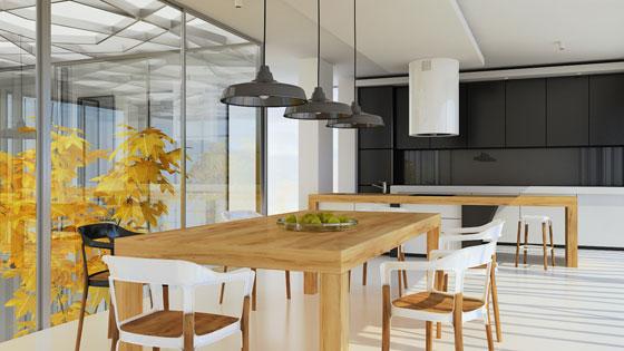 Wnętrza mieszkalne - Aneks kuchenny z jadalnią