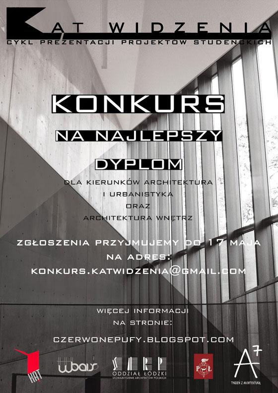 Konkurs na najlepszy dyplom dla kierunków architektura i urbanistyka oraz architektura wnętrz