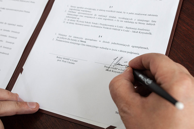 Podpisanie Listu Intencyjnego z Prezesem Stowarzyszenia Architektów Polskich w Łodzi Jakubem Krzysztofikiem